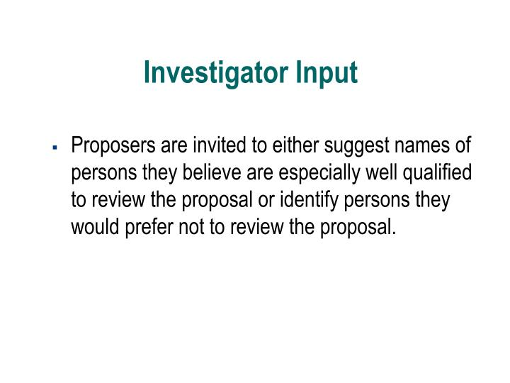 Proposers are invited to either suggest names of persons they believe are especially well qualified to review the proposal or identify persons they would prefer not to review the proposal.