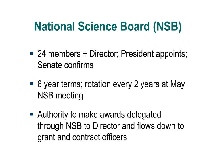 National Science Board (NSB)