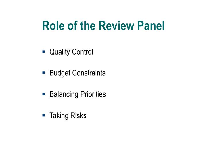 Role of the Review Panel