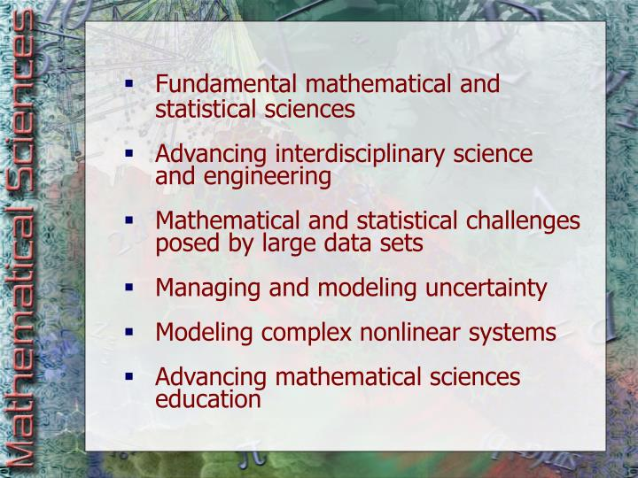 Fundamental mathematical and statistical sciences