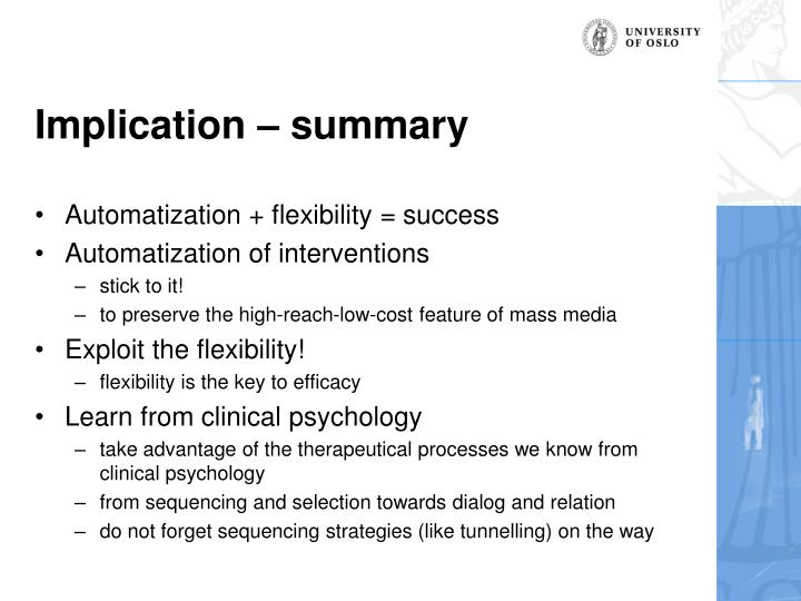 Implication – summary
