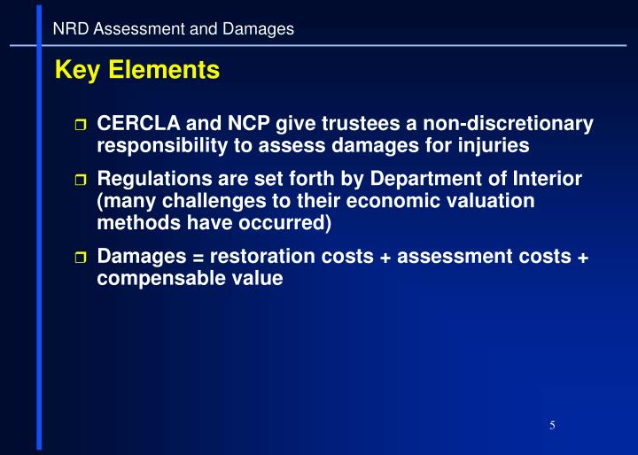 CERCLA and NCP give trustees a non-discretionary responsibility to assess damages for injuries