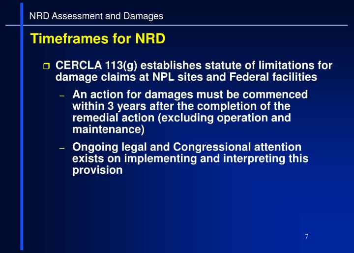 CERCLA 113(g) establishes statute of limitations for damage claims at NPL sites and Federal facilities