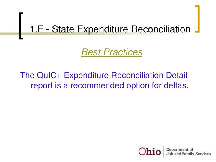 1.F - State Expenditure Reconciliation