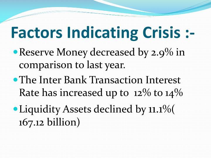 Factors Indicating Crisis :-