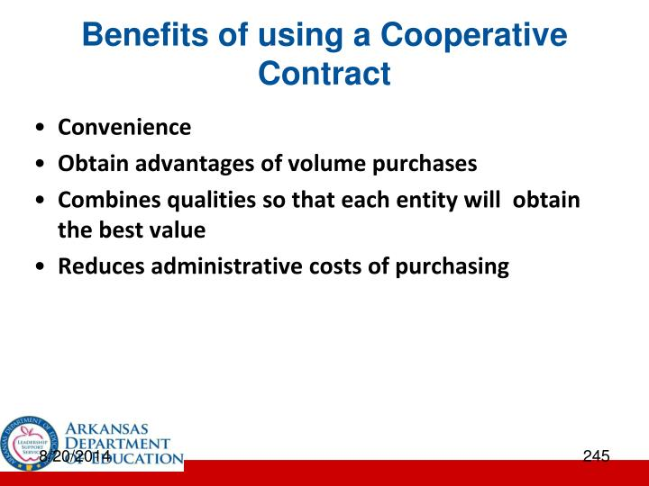 Benefits of using a Cooperative Contract