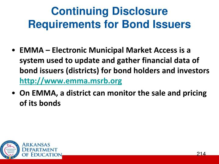 Continuing Disclosure Requirements for Bond Issuers
