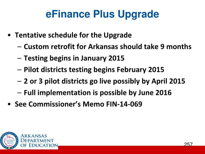 eFinance Plus Upgrade