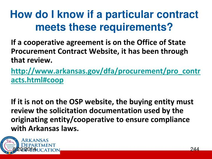 How do I know if a particular contract meets these requirements?