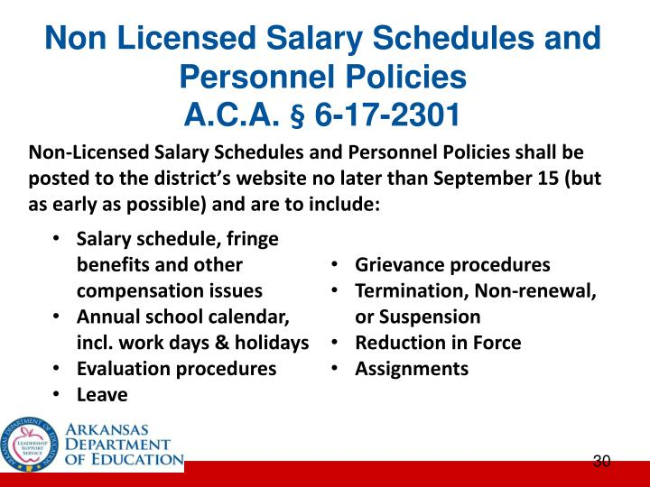Non Licensed Salary Schedules and Personnel Policies