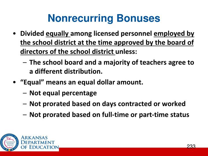 Nonrecurring Bonuses