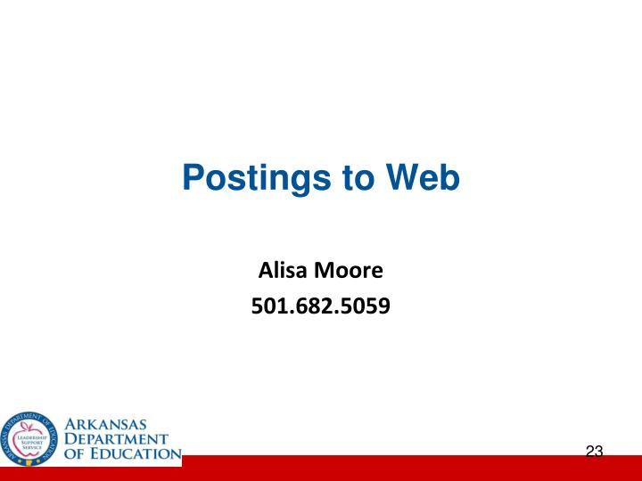 Postings to Web