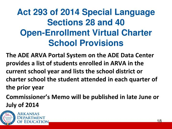 Act 293 of 2014 Special Language Sections 28 and 40