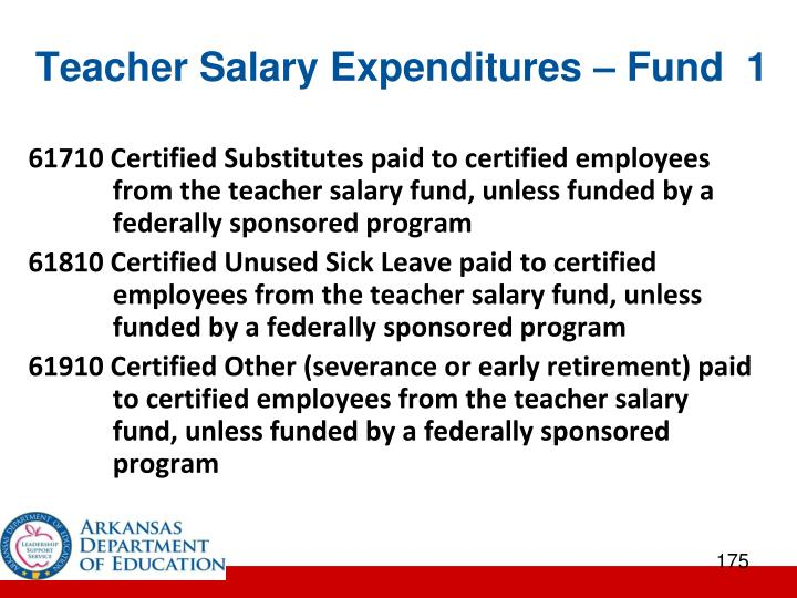 Teacher Salary Expenditures – Fund  1
