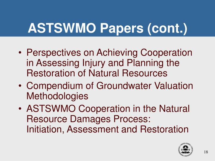 ASTSWMO Papers (cont.)