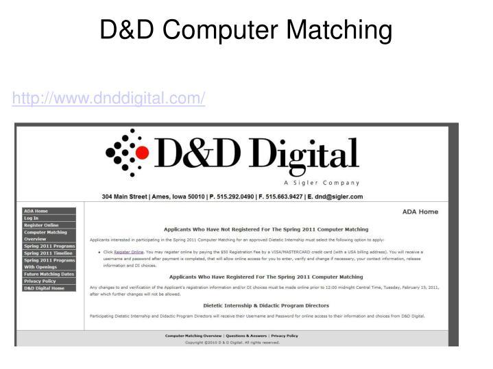 D&D Computer Matching