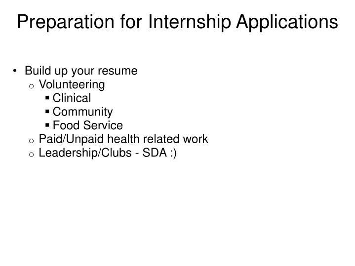 Preparation for Internship Applications