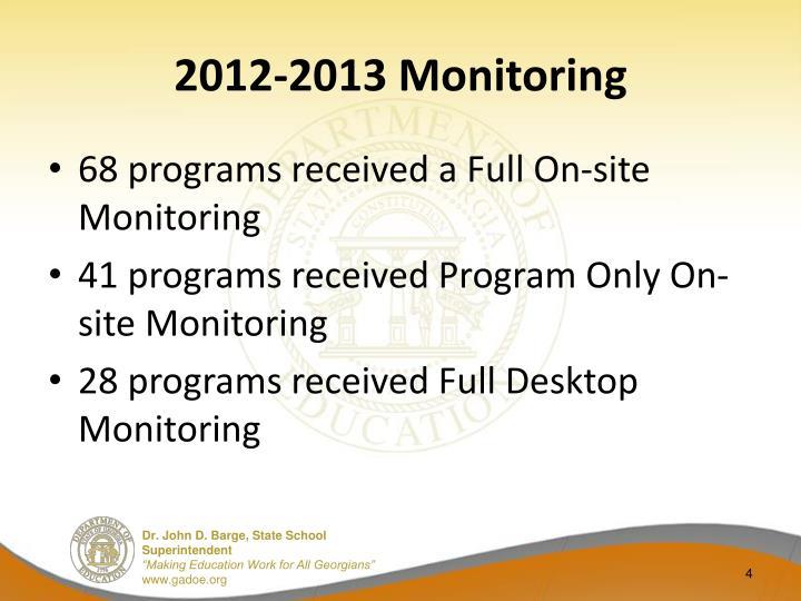 2012-2013 Monitoring