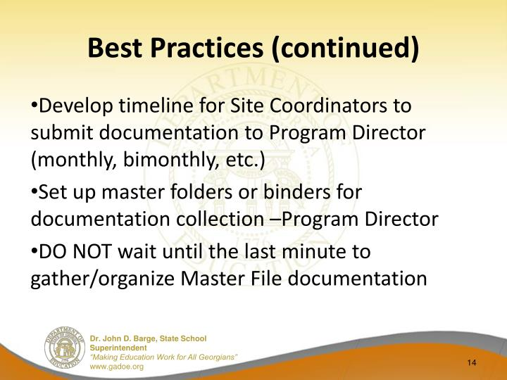 Best Practices (continued)