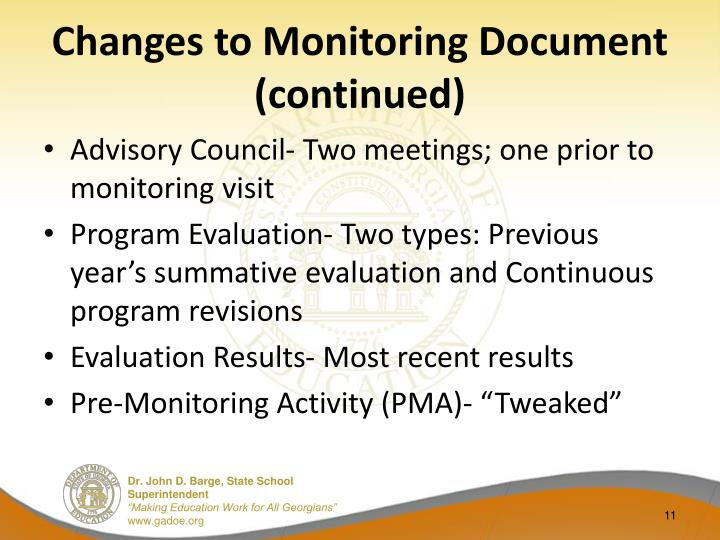 Changes to Monitoring Document (continued)