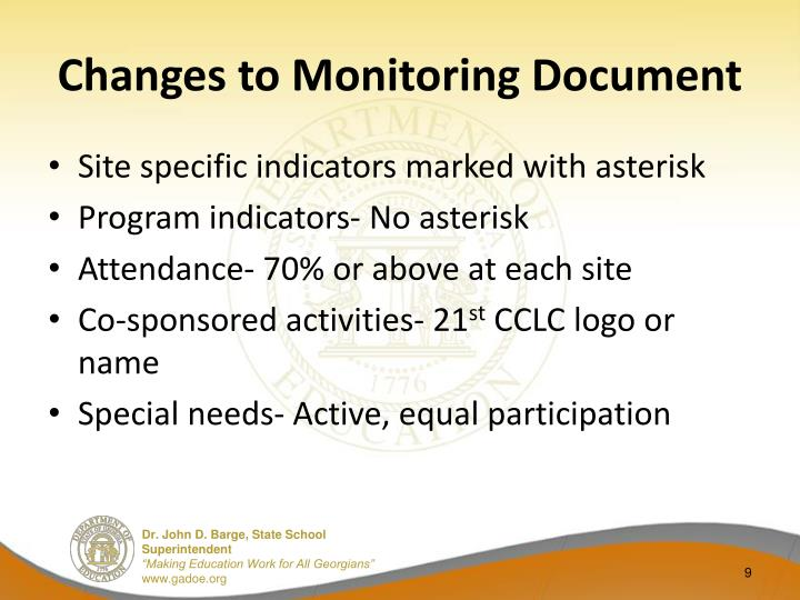 Changes to Monitoring Document