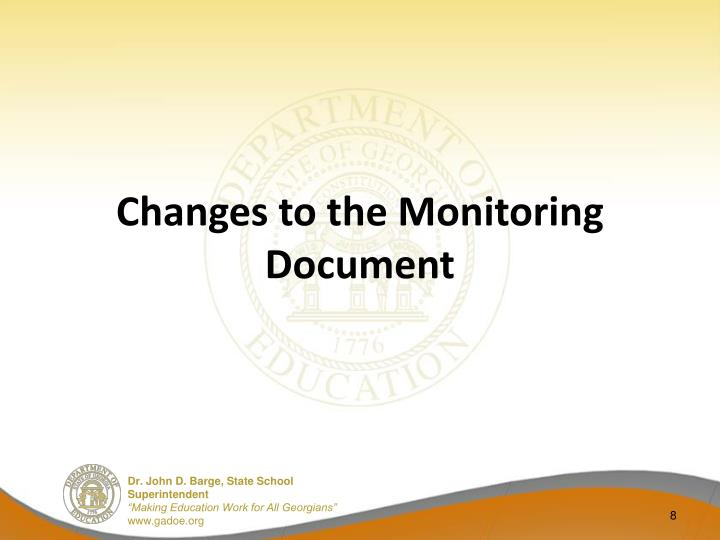 Changes to the Monitoring Document