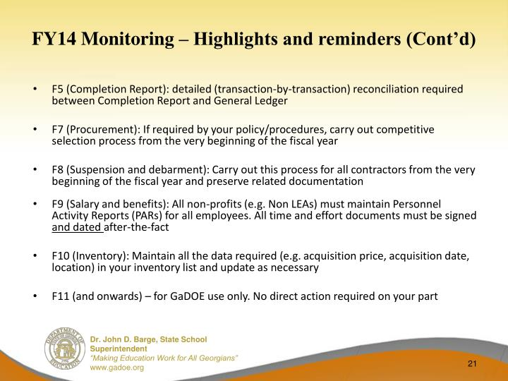 FY14 Monitoring – Highlights and reminders (Cont'd)