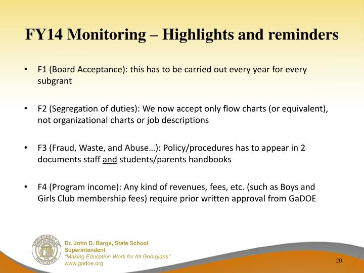 FY14 Monitoring – Highlights and reminders