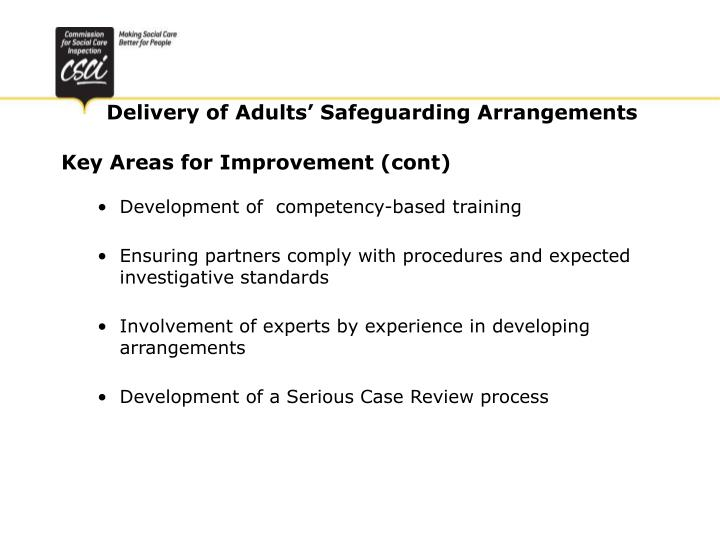 Key Areas for Improvement (cont)