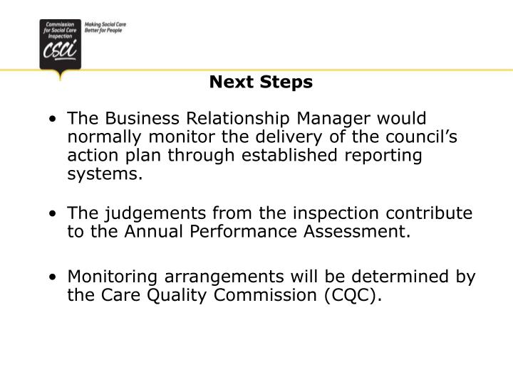 The Business Relationship Manager would normally monitor the delivery of the council's action plan through established reporting systems.