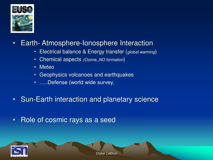 Earth- Atmosphere-Ionosphere Interaction