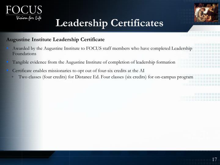 Leadership Certificates