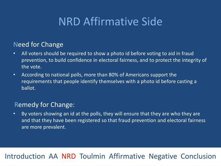 NRD Affirmative Side
