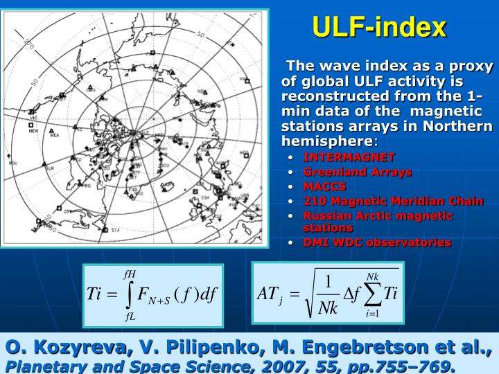 The wave index as a proxy of global ULF activity is reconstructed from the 1-min data of the  magnetic stations arrays in Northern hemisphere