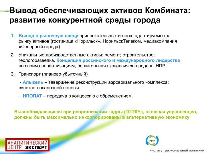 Вывод обеспечивающих активов Комбината: развитие конкурентной среды города