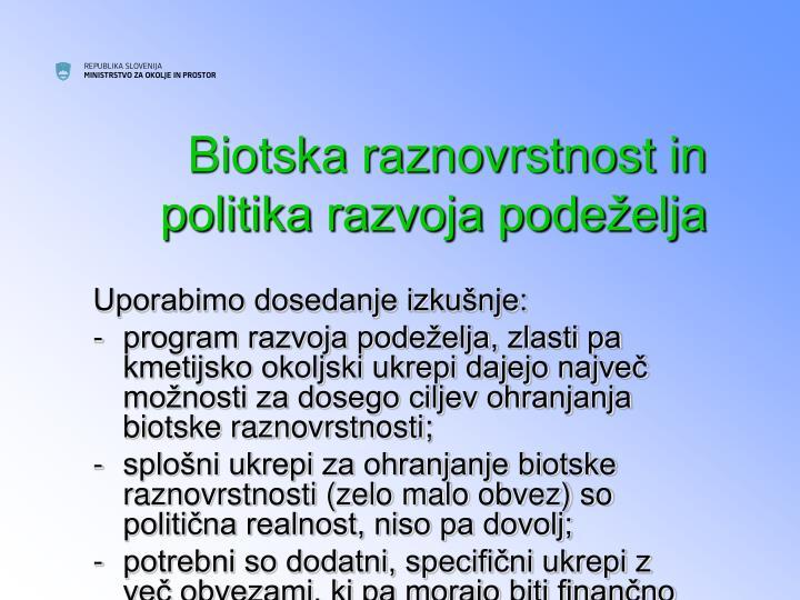 Biotska raznovrstnost in politika razvoja podeželja