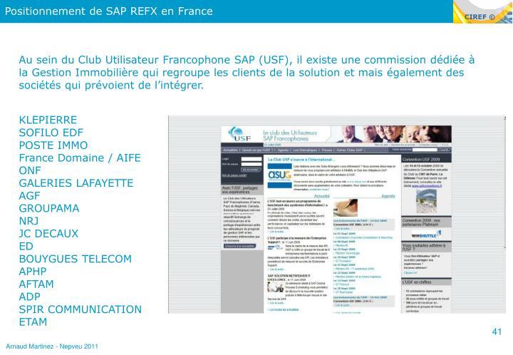 Positionnement de SAP REFX en France