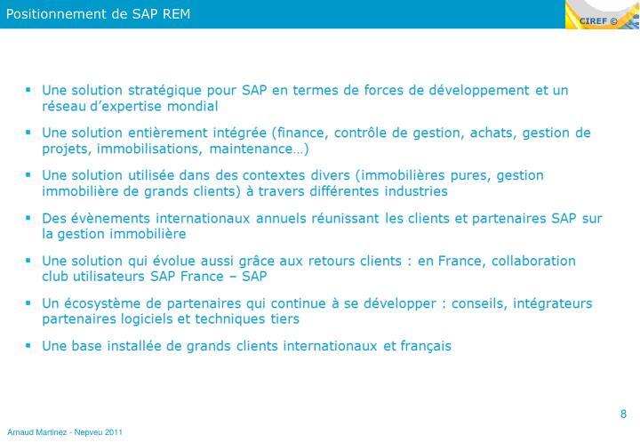 Positionnement de SAP REM