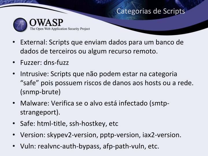 Categorias de Scripts
