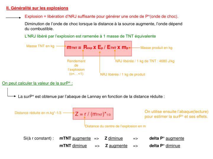 Explosion = libération d'NRJ suffisante pour générer une onde de P°(onde de choc).