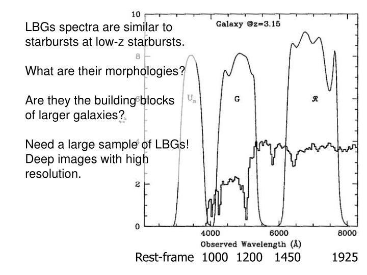 LBGs spectra are similar to starbursts at low-z starbursts.