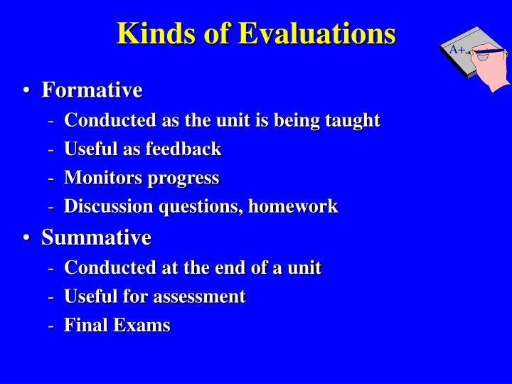 Kinds of Evaluations