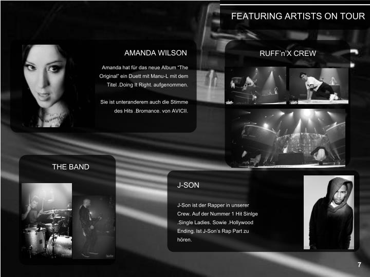 FEATURING ARTISTS ON TOUR
