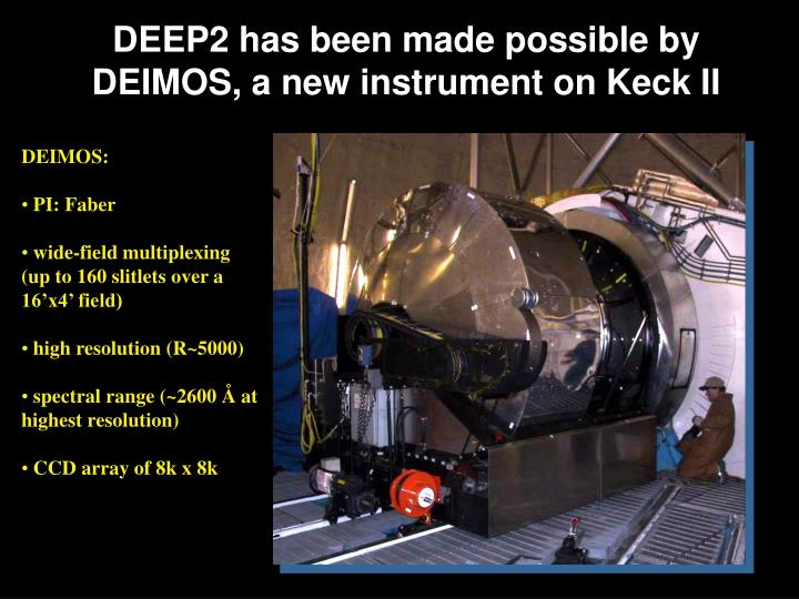 DEEP2 has been made possible by DEIMOS, a new instrument on Keck II