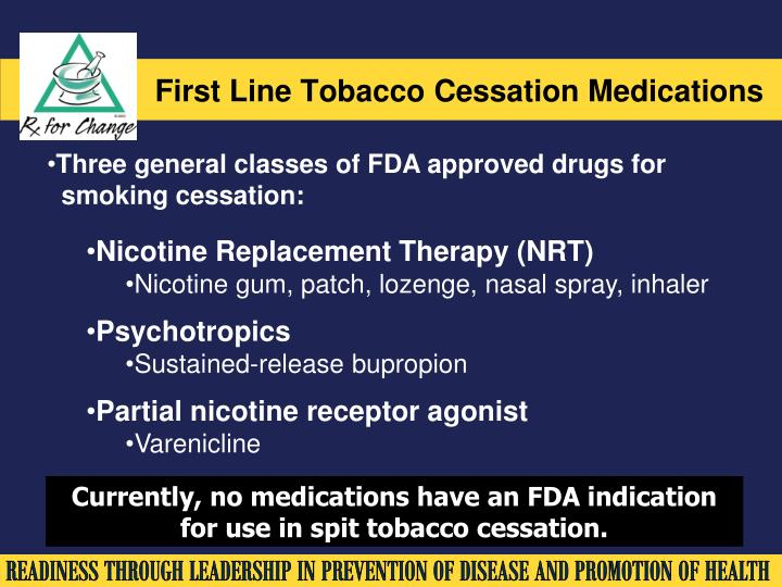 First Line Tobacco Cessation Medications