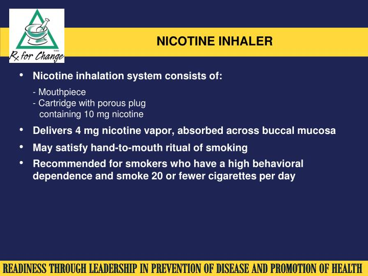 Nicotine inhalation system consists of:
