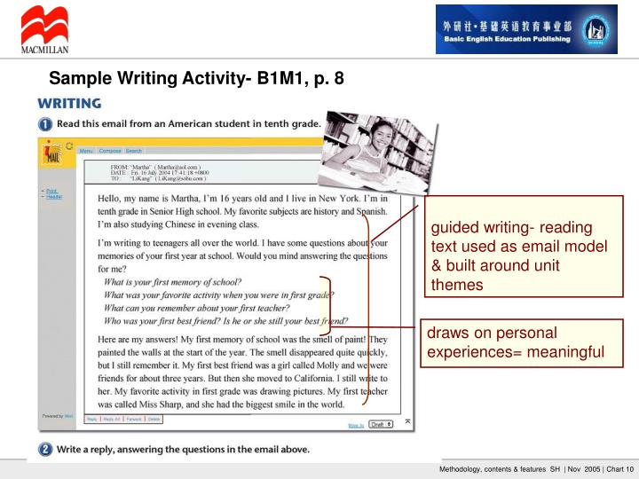 guided writing- reading text used as email model & built around unit themes