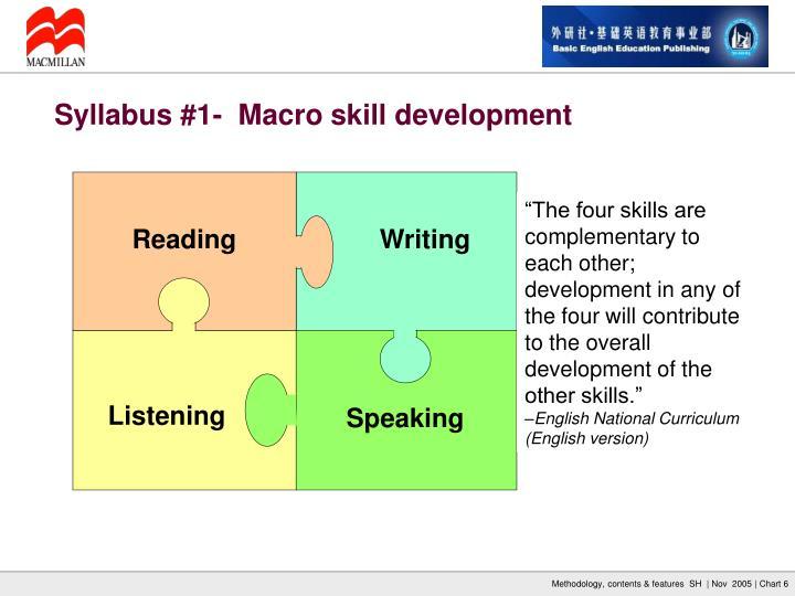 Syllabus #1-  Macro skill development