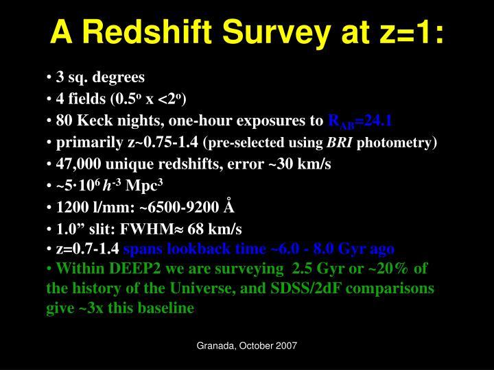 A Redshift Survey at z=1: