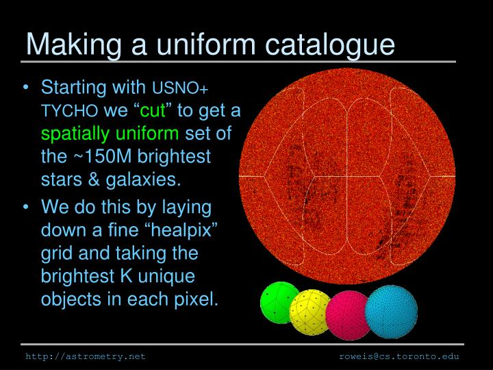 Making a uniform catalogue